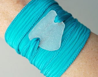 CLEARANCE Sea Glass on Turquoise Blue Silk Wrap Bracelet