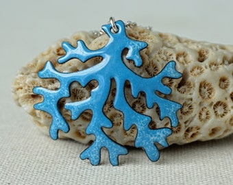Light Blue on Bright Blue Coral Branches Necklace