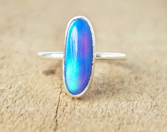 Blue Nova Opal Stacking Ring, Size 6 1/2
