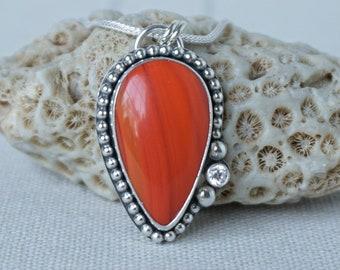 Orange Rosarita Teardrop Pendant