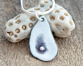 Enamel Oyster Shell Necklace with Fine Silver Pearl