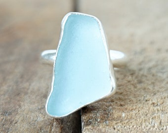 Soft Aqua Blue Sea Glass Ring, Size 8