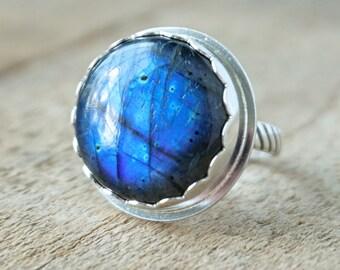 Blue Labradorite Statement Ring, Size 8 1/4