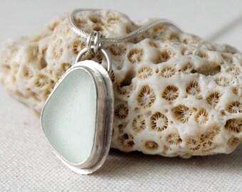CLEARANCE! Clear Sea Glass Pendant -Sea Glass Necklace, Sea Glass Jewelry, Beach Glass, Beach Glass Necklace, Clearance Jewelry,Sale Jewelry
