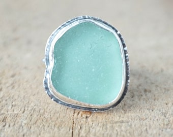 Seafoam Green Sea Glass Ring, Size 8 1/2