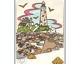 Whitley Bay A5 Postcard St Mary's Lighthouse Limpets Gulls Pebbles Beach Seaside