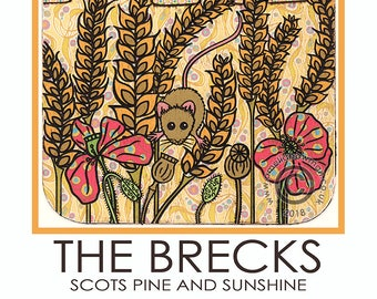 The Brecks A5 Postcard Breckland Norfolk Suffolk Field Mouse Poppies Wheat Scots Pine