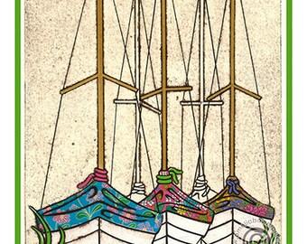Sailing A5 Postcard Boats Dry Dock