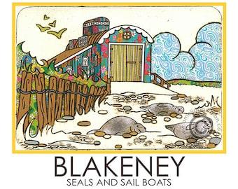 Blakeney A5 Postcard Seals Lifeboat Station