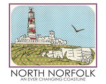 North Norfolk A5 Postcard Lighthouse Cliffs Church