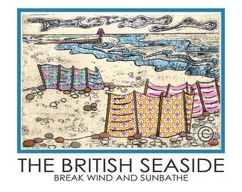 The British Seaside A5 Poster Windbreaks