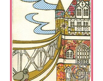 London A5 Postcard Tower Bridge Pidgeon