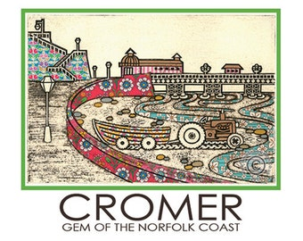 Cromer A5 Postcard Pier Tractor Boat Seaside Holidays