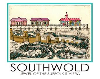Southwold A5 Postcard Pier Waves Seaside