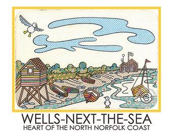 Wells-Next-The-sea A5 Postcard Norfolk Coast Harbour Gull Seagull Tidal