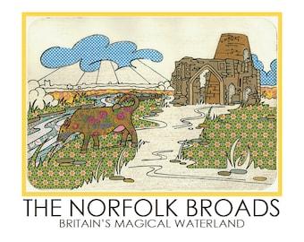 Norfolk Broads A5 Postcard St Benets Abbey Cow Field Stream