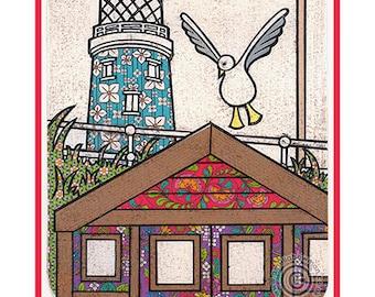 Southwold A5 Postcard Lighthouse Beach Hut Seagull