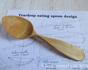 Teardrop eating spoon wood carving pattern