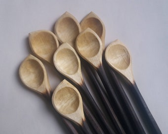 Stirring spoons with ebonized handes - left & right handed