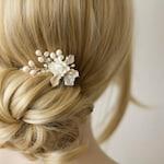 Bridal hair comb. Bridal hair accessories. Bridal hair flower. Bridal hair comb silver. Wedding hair accessories. Pearl hair comb.