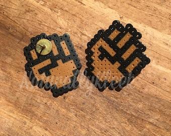 MINI Stud - FIST *Pride* Pixel Earrings - Natural Hair Earrings - Pixel Art