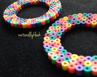 """Rainbow """"Hoop"""" Earrings - Colorful Hoop Earrings - Round Rainbow Earrings - Rainbow Perler Earrings"""