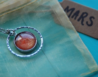 OOAK Planetary Necklace series Astronomy Hand painted Planet MARS Geeky Science