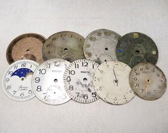 Vintage Big Pocket Watch Faces - set of 8 - c25
