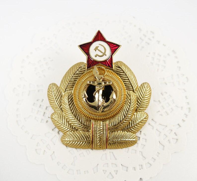 Navy Cockade Military USSR Uniform Red Star Vintage Soviet Pin Gold Anchor