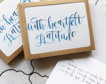with heartfelt gratitude- thank you card- set of 8