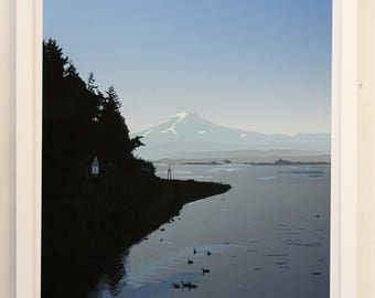 Mount Rainier art print; island view.