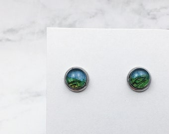 Simplicity stud earrings MOTIF watercolor earrings in silver. One of a kind miniature painted jewelry, hypoallergenic stainless steel SSE8