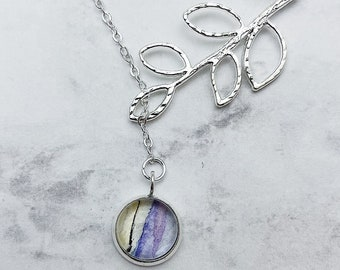 CHOOSE YOUR STYLE vine lariat or simplicity watercolor pendant necklace. Light purple and yellow pendant with Silver chain. Listing #DYO37