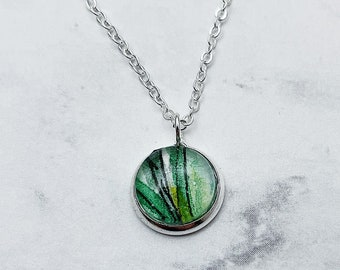 CHOOSE YOUR STYLE vine lariat or simplicity watercolor pendant necklace. Green pendant with Silver chain. Listing #DYO34