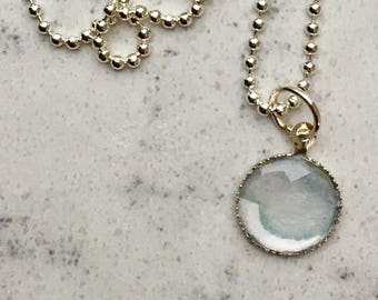 Blue-grey pendant necklace made from original watercolor art, small pendant.