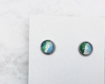 Simplicity stud earrings MOTIF watercolor earrings in silver. One of a kind miniature painted jewelry, hypoallergenic stainless steel