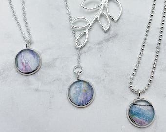 CHOOSE YOUR STYLE vine lariat or simplicity watercolor pendant necklace. Light purple and blue pendant with Silver chain. Listing #DYO37