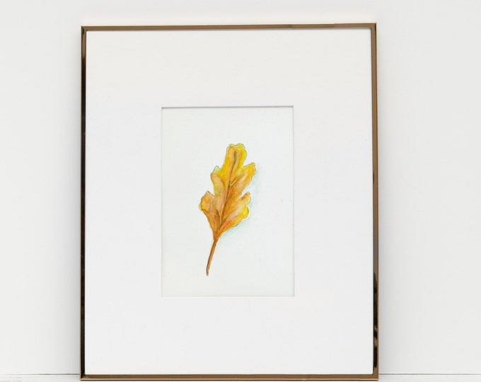 original art ready to frame Yellow leaf watercolor print 5x7