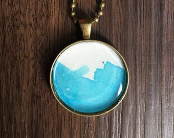 Abstract Watercolor pendant necklace--blue and white-- exact one pictured