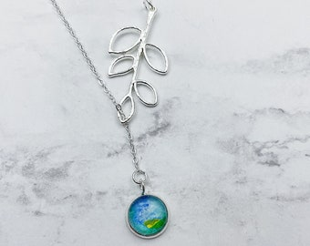 CHOOSE YOUR STYLE vine lariat or simplicity watercolor pendant necklace. Blue/green pendant with Silver chain. Listing #DYO30