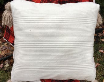 """Sweater pillow with chunky tassels 20"""" square plush stuffed throw pillow"""