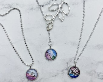 CHOOSE YOUR STYLE vine lariat or simplicity watercolor pendant necklace. Pink and blue pendant with Silver chain. Listing #DYO32