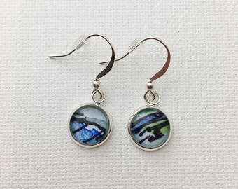 Simplicity dangle earrings MOTIF watercolor earrings in silver. One of a kind unique miniature painted jewelry SDEM2