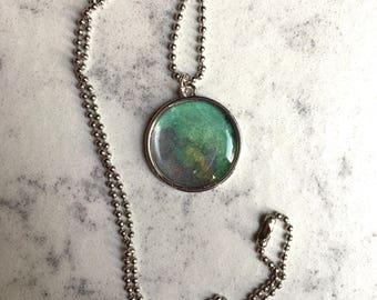 Watercolor pendant neckace--blue green silver