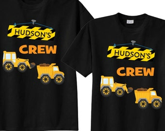 Mom and Dad Matching Birthday Shirts with Construction Theme on BLACK Shirts Birthday Crew Shirts pNzTa8