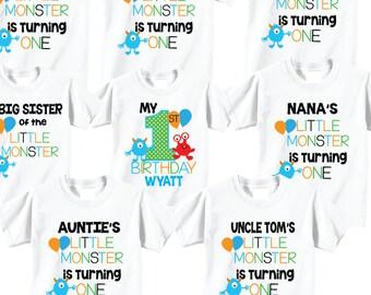 63b74baf 9 shirt set 1st Birthday Shirts with Monsters Family Birthday Shirts with  Monsters on WHITE Shirts