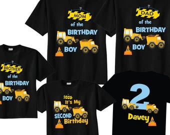 Light Blue Lettering Mom Of The Birthday Boy Dad Brother And 2nd Construction Shirts On BLACK