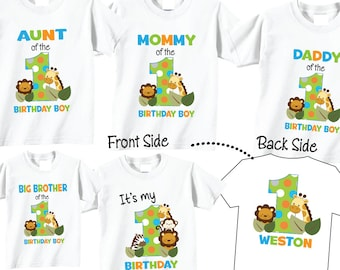 4 shirt set Birthday Shirts for Mom and Dad and Family Birthday Set with  Jungle cff1e08bef