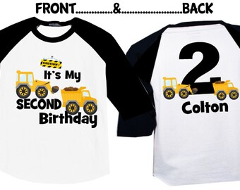 2nd Birthday Shirts With Construction On A Raglan Shirt
