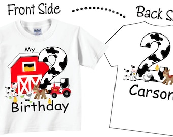 2nd Farm Birthday Shirts And Tshirts With Farmyard Animals Tees